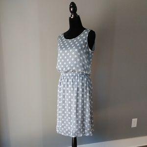 THE LIMITED soft aqua & white polka dot dress